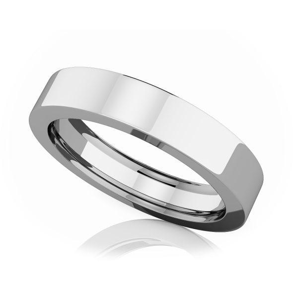 แหวนPlatinum - 4 mm Flat comfort fit classic band