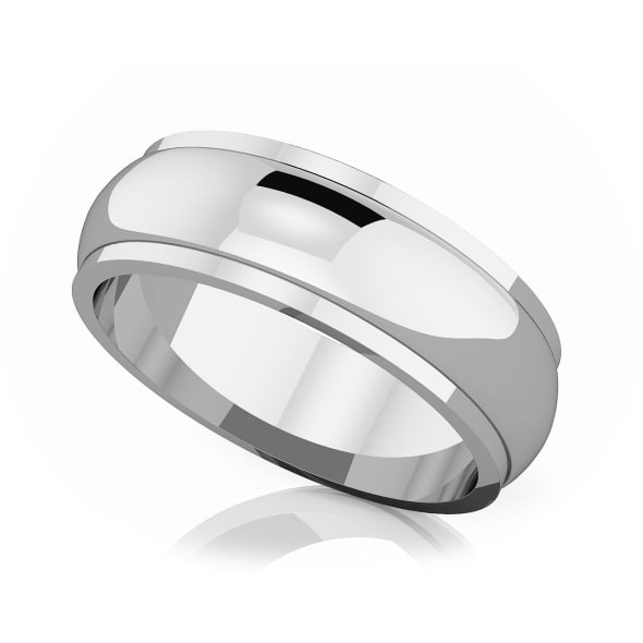แหวนPlatinum - 6 mm Half rounded edge romantic classic band