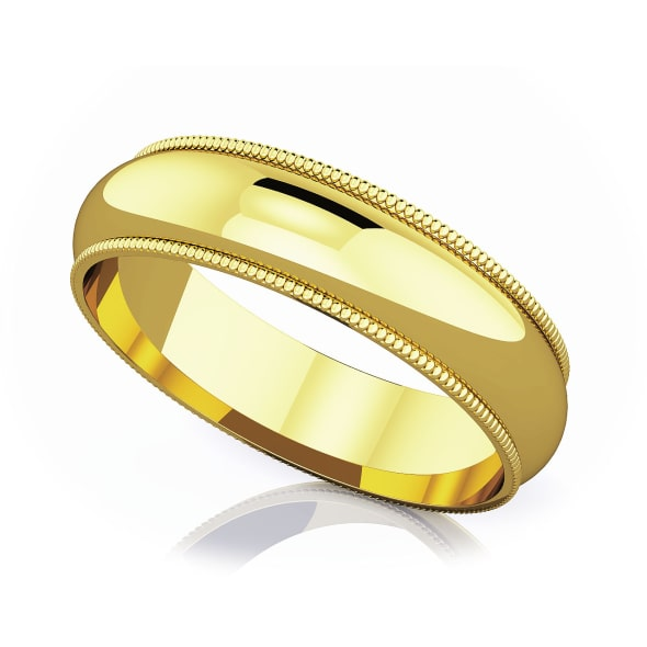 แหวนทอง - 18K 5 mm Milgrain edge romantic classic band