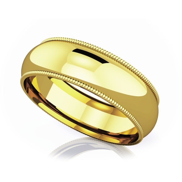 แหวนทอง - 18K 6 mm Milgrain edge romantic classic band