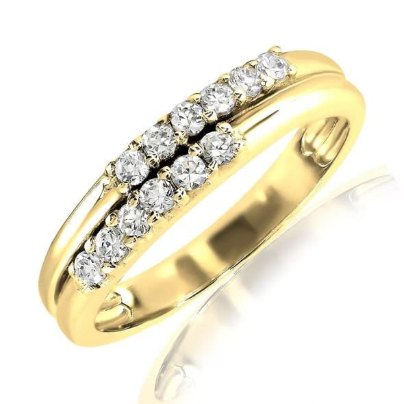 แหวนทอง 18K ประดับเพชร น้ำหนักรวม 0.15 กะรัต ค่าสี E ค่าความสะอาด VS