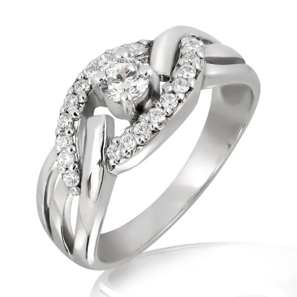 แหวนทอง 18K ประดับเพชร น้ำหนักรวม 0.50 กะรัต ค่าสี F ค่าความสะอาด VS เพชรมาพร้อมใบรับรองจาก GIA