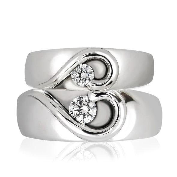 แหวนคู่รักทอง 18K ประดับเพชร น้ำหนักรวม 0.25 กะรัต ค่าสี F ค่าความสะอาด VS