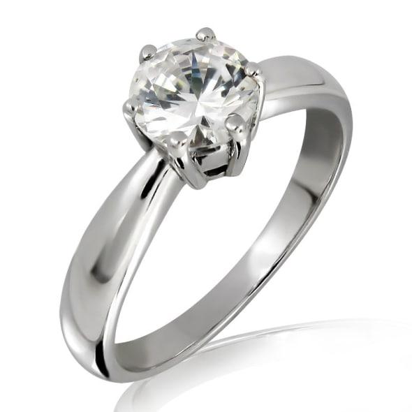 แหวนทอง 18K ประดับเพชร น้ำหนักรวม 0.30 กะรัต ค่าสี E ค่าความสะอาด VS2 เพชรมาพร้อมใบรับรองจาก GIA