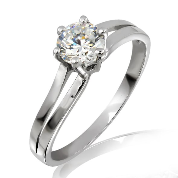 18K Gold and 0.30 Carat E Color VS1Clarity EX/EX/EX GIA Certified Diamond Ring