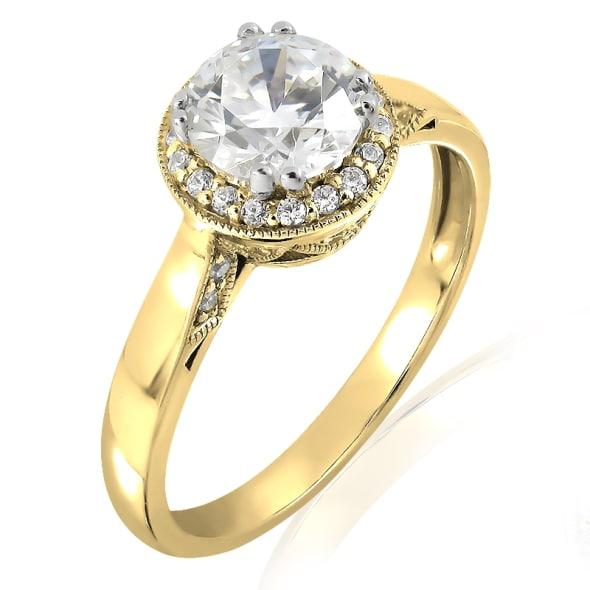 แหวนทอง 18K ประดับเพชร น้ำหนักรวม 1.00 กะรัต ค่าสี E ค่าความสะอาด VS2 EX/EX/EX เพชรมาพร้อมใบรับรองจาก IGL