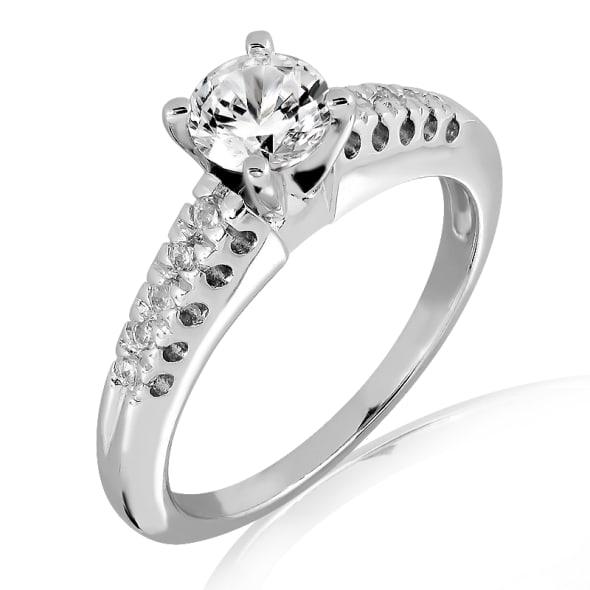 แหวนทอง 18K ประดับเพชร น้ำหนักรวม 1.30 กะรัต ค่าสี F ค่าความสะอาด VS2 EX/EX/EX เพชรมาพร้อมใบรับรองจาก GIA