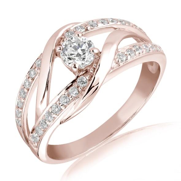 แหวนทอง 18K Rose Gold ประดับเพชร น้ำหนักรวม 0.40 กะรัต ค่าสี E ค่าความสะอาด VS1