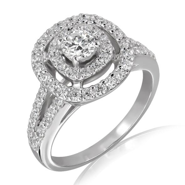 แหวนทอง 18K ประดับเพชร น้ำหนักรวม 0.85  กะรัต ค่าสี E  ค่าความสะอาด VS1