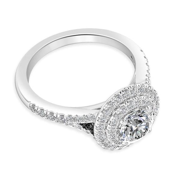 แหวนทอง 18K ประดับเพชร น้ำหนักรวม 1.00 กะรัต ค่าสี G ค่าความสะอาด VS2 EX/EX/EX เพชรมาพร้อมใบรับรองจาก GIA