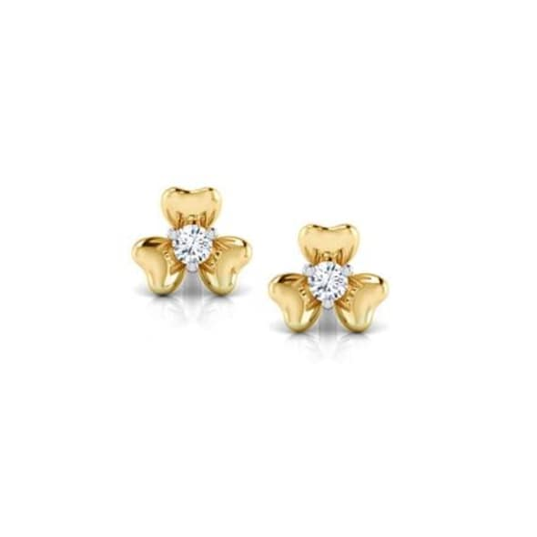 18K Gold and 0.04 carat Diamond Earrings