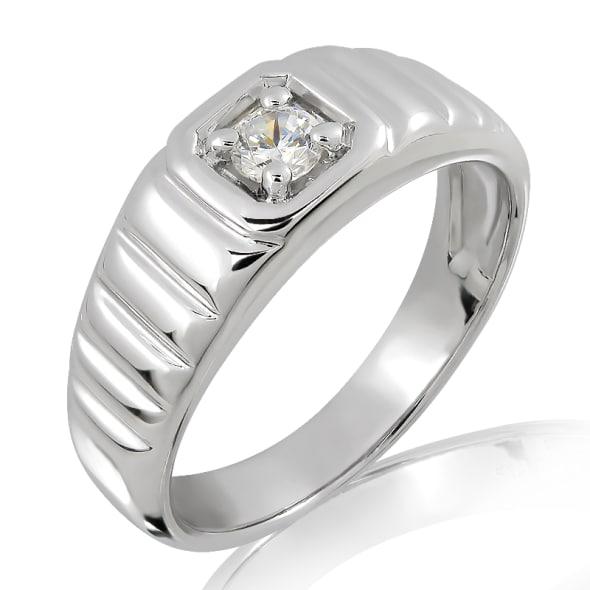 แหวนเพชรหมั้นชาย ทอง 18K ประดับเพชร 0.15 กะรัต ค่าสี F ค่าความสะอาด VS