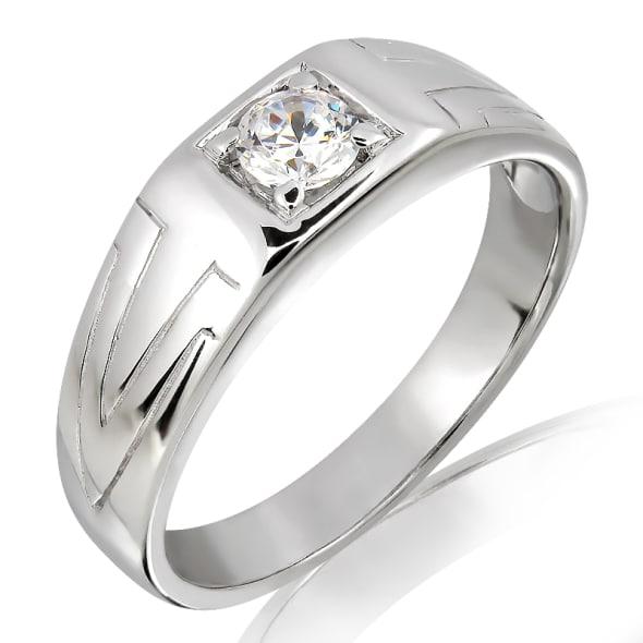 แหวนเพชรหมั้นชาย ทอง 18K ประดับเพชร 0.20 กะรัต ค่าสี F ค่าความสะอาด VS