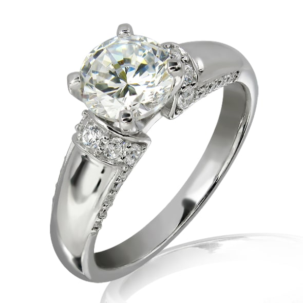 18K Gold and 0.80 Carat F Color VS2 Clarity EX/EX/EX  GIA Certified Diamond Ring