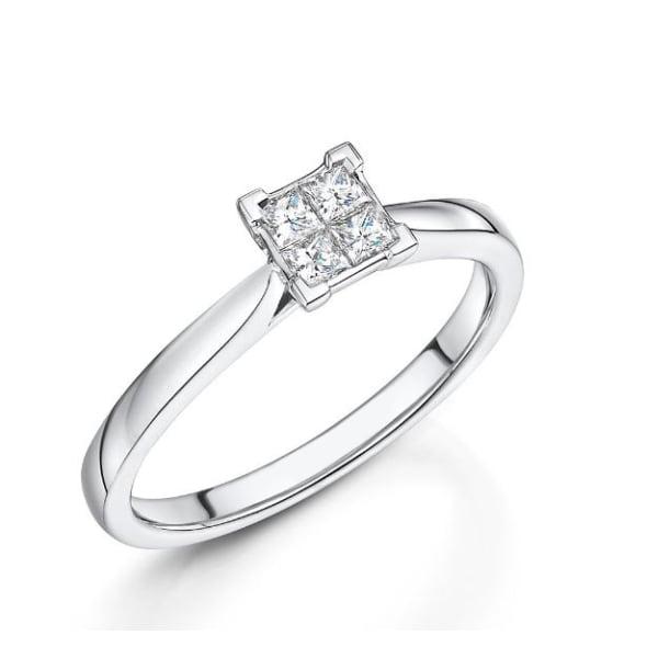 แหวนทอง 18K ประดับเพชร น้ำหนักรวม 0.21 กะรัต ค่าสี G ค่าความสะอาด VS