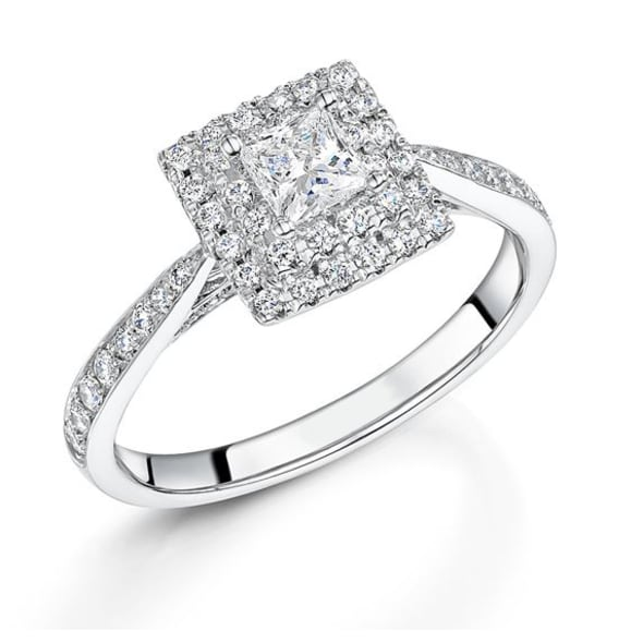 แหวนทอง 18K ประดับเพชร น้ำหนักรวม 0.67 กะรัต ค่าสี G ค่าความสะอาด VS