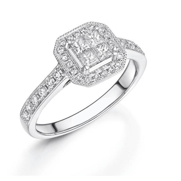แหวนทอง 18K ประดับเพชร น้ำหนักรวม 0.38 กะรัต ค่าสี G ค่าความสะอาด VS