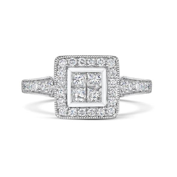 แหวนทอง 18K ประดับเพชร น้ำหนักรวม 0.57 กะรัต ค่าสี G ค่าความสะอาด VS