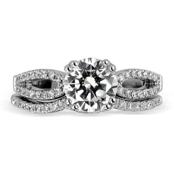 แหวนทอง 18K ประดับเพชร น้ำหนักรวม 0.76 กะรัต ค่าสี D ค่าความสะอาด VVS1 EX/EX/EX เพชรมาพร้อมใบรับรองจากสถาบัน GIA และแหวนเพชร Matching Band