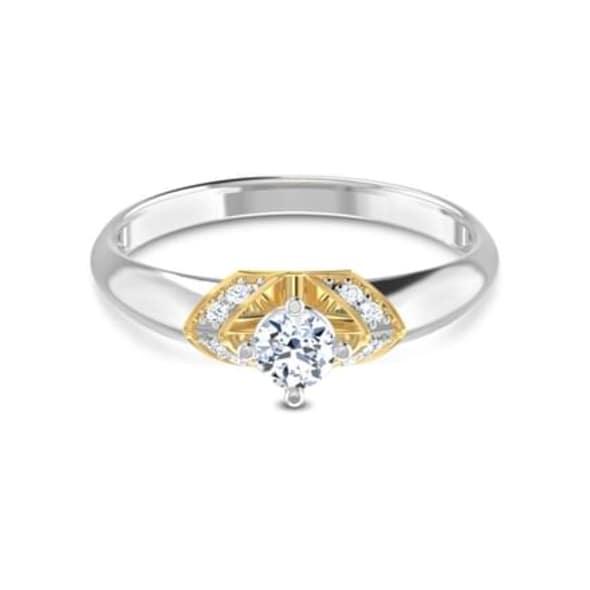 แหวนทอง 18K ประดับเพชร น้ำหนักรวม 0.27 กะรัต ค่าสี GH ค่าความสะอาด VS