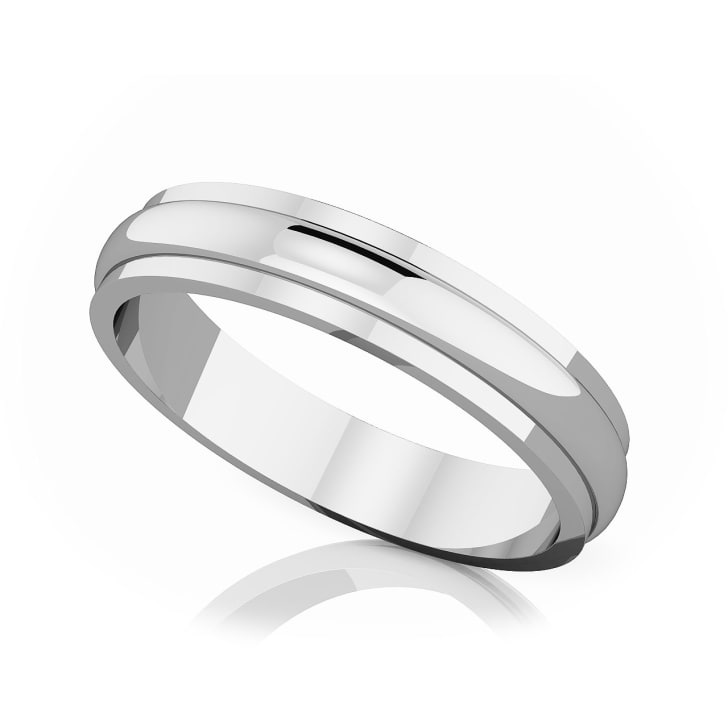 แหวนPlatinum - 4 mm Half rounded edge romantic classic band