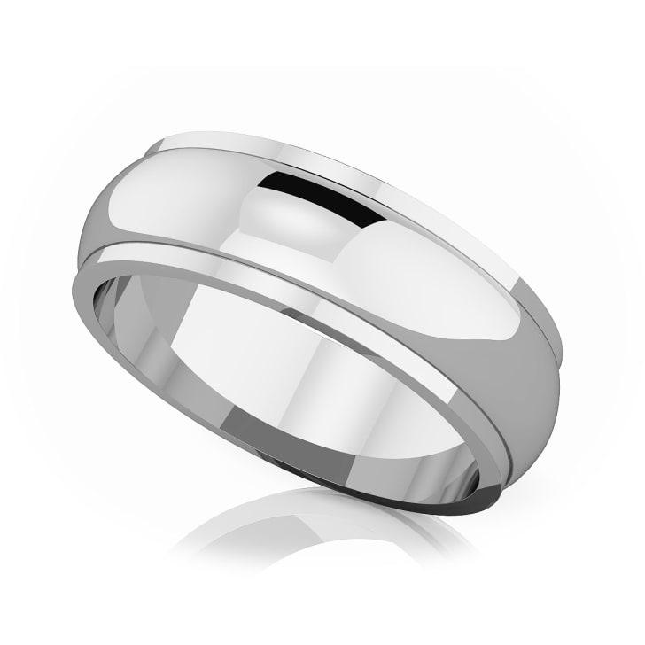 แหวนPlatinum - 6 mm Half rounded edge romantic classic band