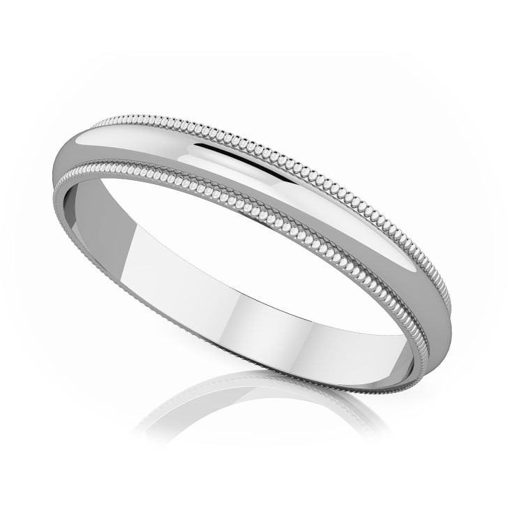 แหวนPlatinum - 3 mm Milgrain edge romantic classic band