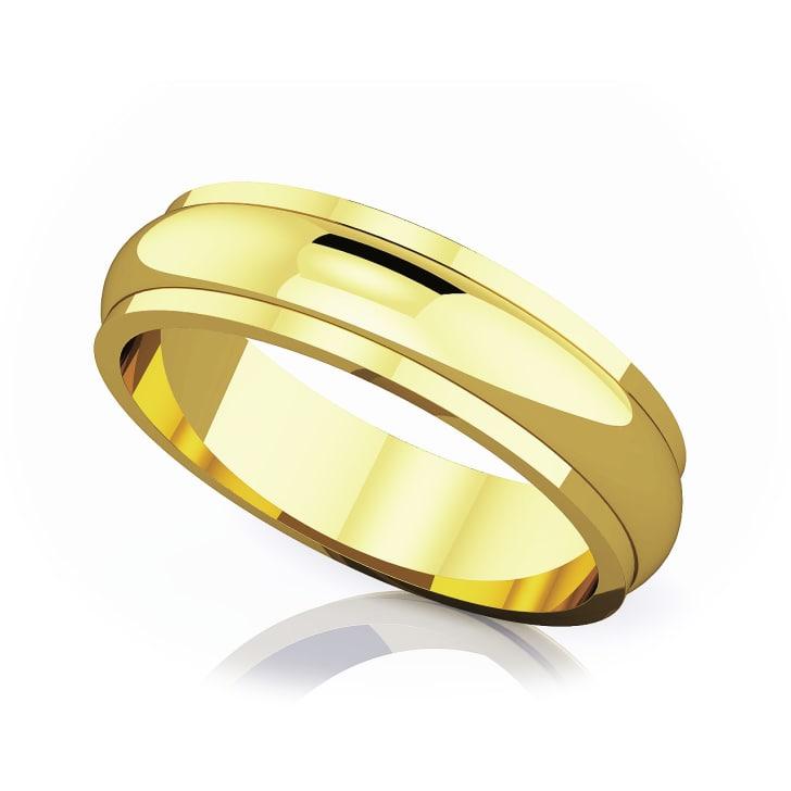 แหวนทอง - 18K 5 mm Half rounded edge romantic classic band