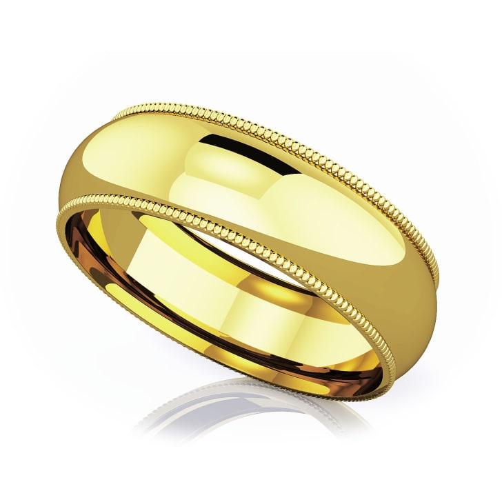 แหวนทอง - 18K 6 mm Milgrain edge romantic classic band