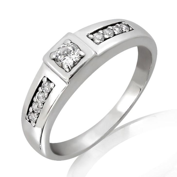 แหวนหมั้นชาย ทอง 18K ประดับเพชร น้ำหนักรวม 0.27 กะรัต ค่าสี F ค่าความสะอาด VS