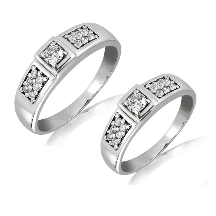แหวนคู่รักทอง 18K  ประดับเพชร น้ำหนักรวม 0.61 กะรัต ค่าสี F ค่าความสะอาด VS