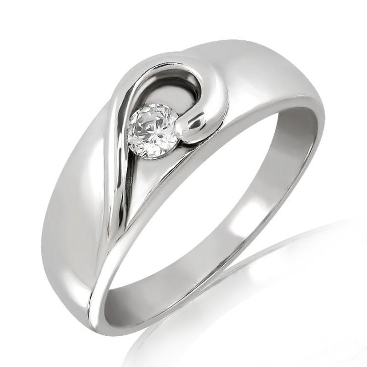 แหวนเพชรหมั้นหญิง ทอง 18K ประดับเพชร น้ำหนักรวม 0.10 กะรัต ค่าสี F ค่าความสะอาด VS