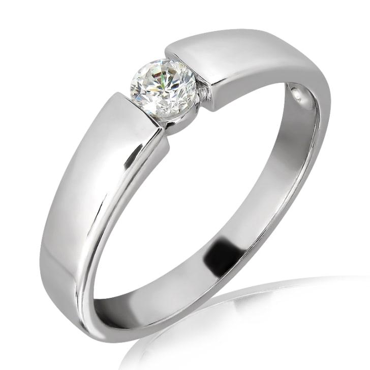 แหวนเพชรหมั้นหญิง ทอง 18K ประดับเพชร น้ำหนักรวม 0.10 กะรัต ค่าสี E ค่าความสะอาด VS