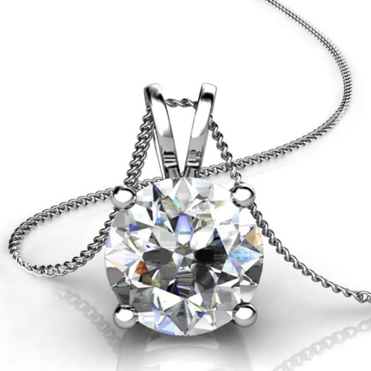18K Gold and 0.25 Carat H Color VS Clarity 4 Prong Solitaire Pendant