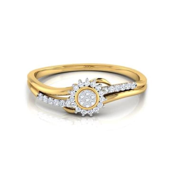 แหวนทอง 18K ประดับเพชร น้ำหนักรวม 0.14 กะรัต ค่าสี GH ค่าความสะอาด VS