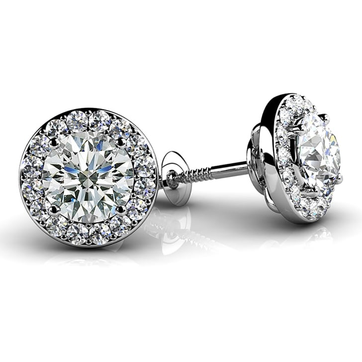 18K Gold and 1.00 Carat E Color VVS2 Clarity Designer Diamond Earrings