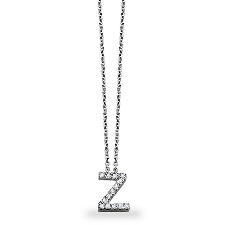 จี้ทอง 18K ประดับเพชร น้ำหนักรวม 0.11 กะรัต ค่าสี F ค่าความสะอาด VS จี้อักษร Z มาพร้อมสร้อยคอ 16 นิ้ว