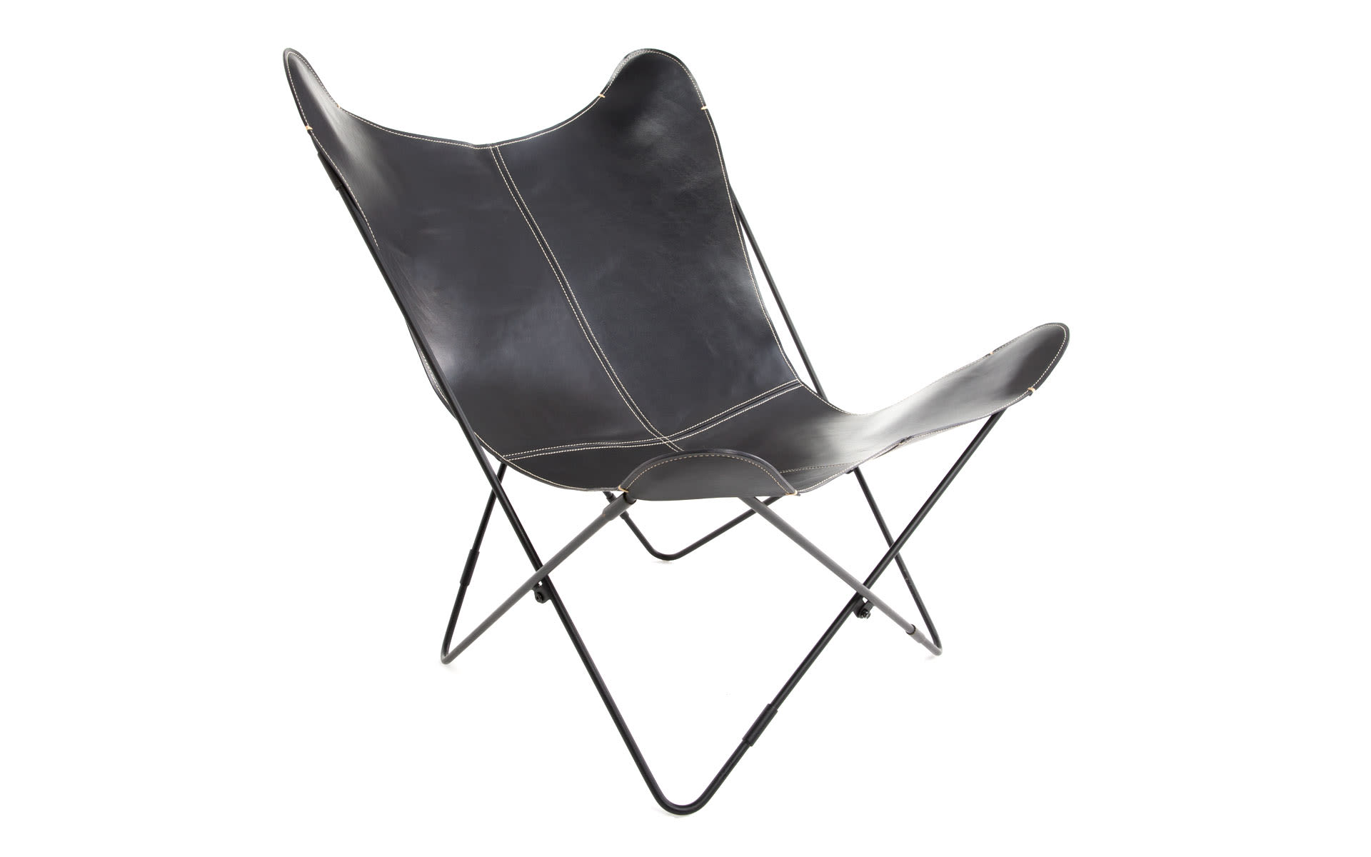 Butterfly Chair - Leather-COL01 - Black-Black