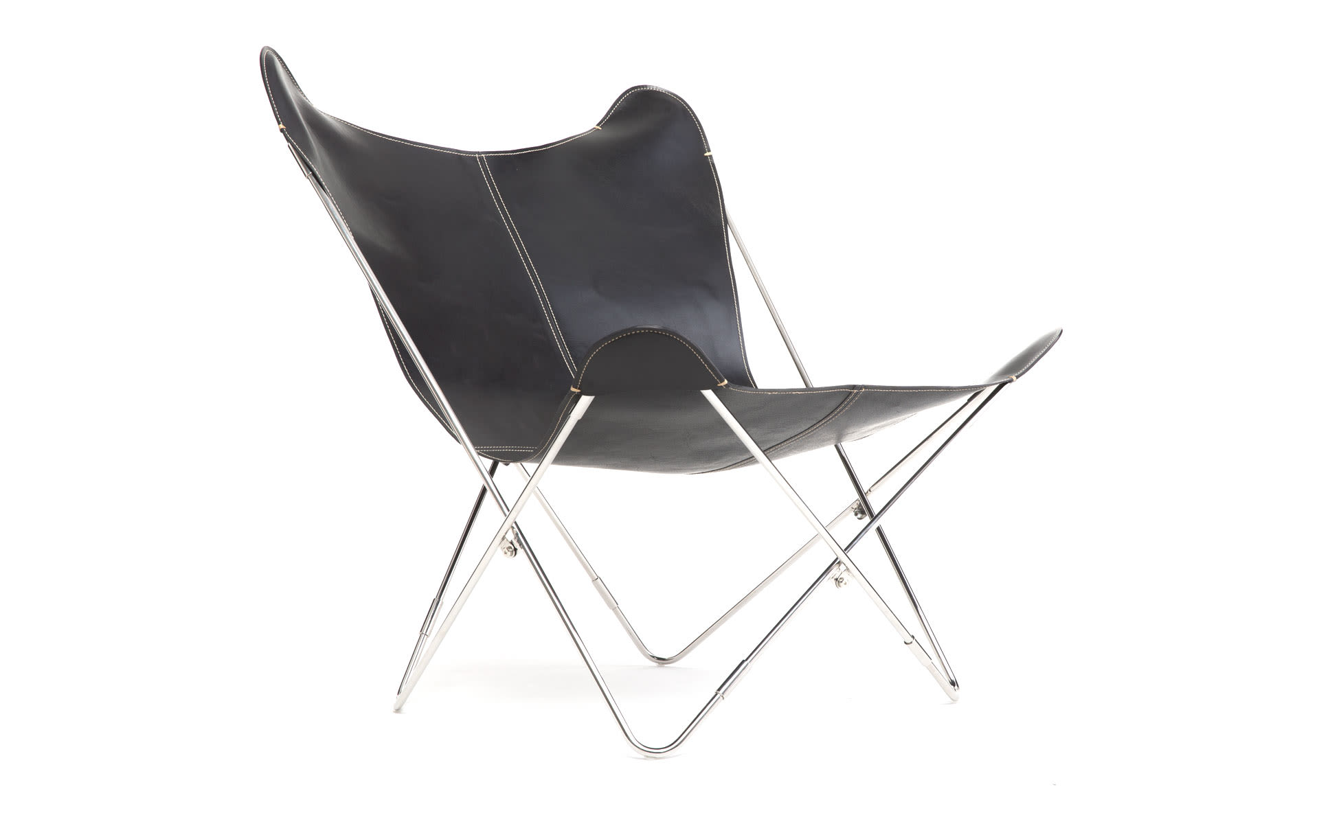 Butterfly Chair - Leather-COL01 - Black-Steel