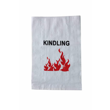 Woven Polypropylene - Printed White Laminated Kindling Bags - 41 CM x 65 CM