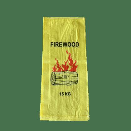 Woven Polypropylene - Printed Firewood Bag Yellow - (38 CM + 12 CM) x 86 CM