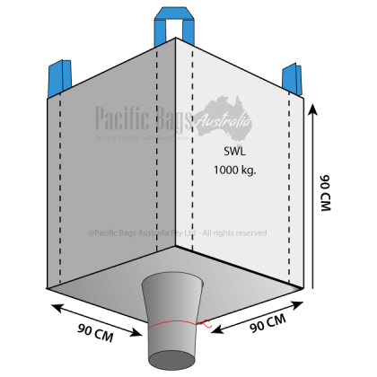 1.0 Tonne - Open Top Spout Bottom - Bulk Bag - 90 x 90 x 90 CM