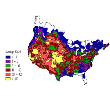 Horned Lark winter distribution map