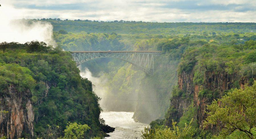 Landscape and bridge at Victoria Falls, Zimbabwe