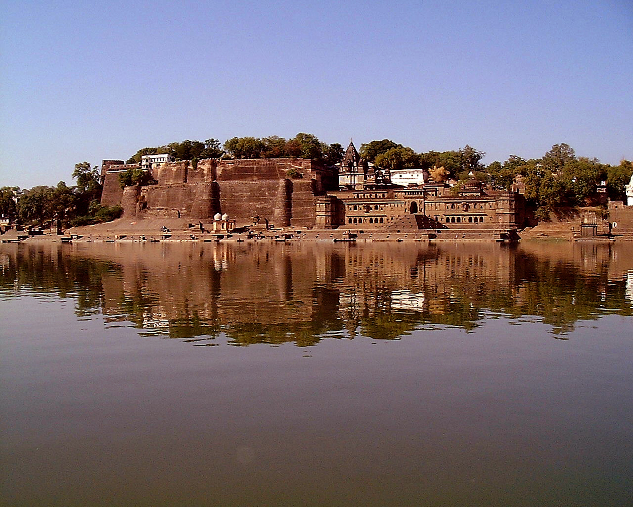 View of Ahilya Fort from Narmada river