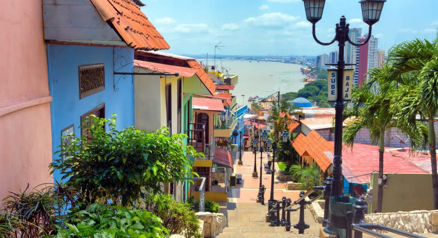 Enchanting Travels Ecuador Tours View of the Las Penas neighborhood on Santa Ana Hill in Guayaquil,