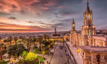 Sunset over Basilica Cathedral of Arequipa in Peru