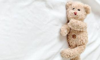 a brown teddy bear sitting on top of a bed