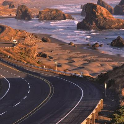 Winding coastal road