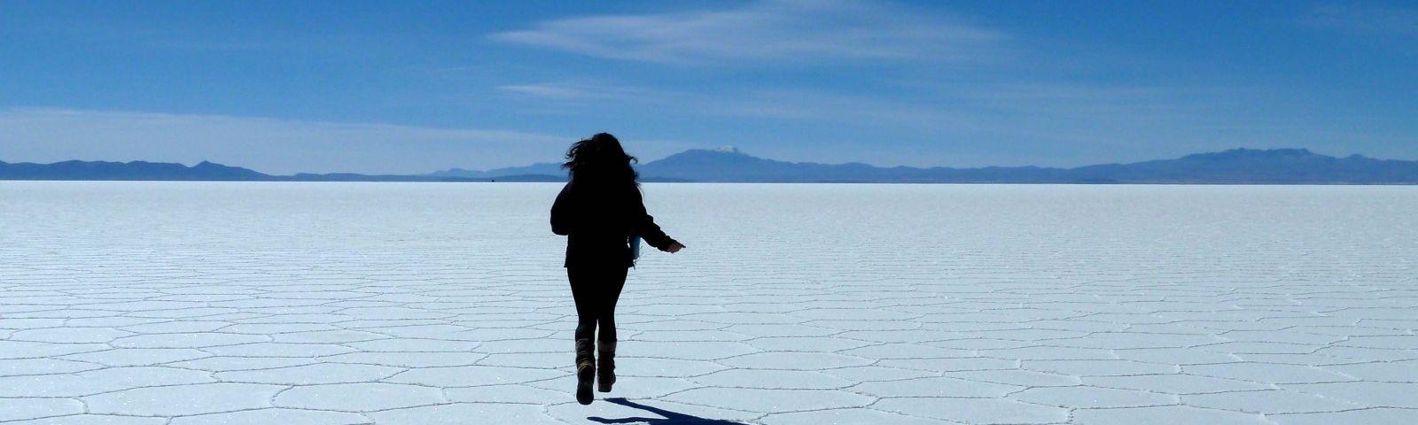 Run across the Uyuni Salt Flats in Bolvia